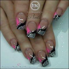 Hot pink and black nails pink black silver nails with bling. Silver Nail Designs, French Nail Designs, Nail Art Designs, Nails Design, Fancy Nails, Trendy Nails, Hot Nails, Pink Nails, Black Silver Nails