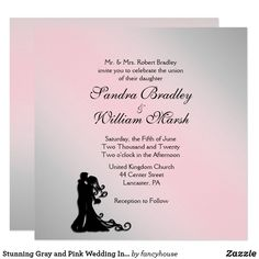 Stunning Gray and Pink Wedding Invitation