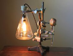 Industrial lamp with test tube flower vase. Made from reclaimed laboratory equipment: vintage lab stand, Pyrex Erlenmeyer flask, lab clamps,