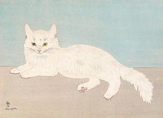 Cats in Art and Illustration: Tsuguji Foujita. Art And Illustration, Illustrations, Pedigree Cats, Asian Cat, Harvard Art Museum, Gatos Cats, White Cats, Japanese Artists, Religious Paintings