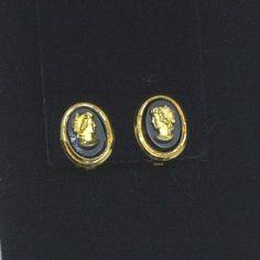 Beautiful Black and Gold Vintage Cameo Clip on Earrings by AuntRitz on Etsy, $8.00
