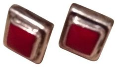 Vintage Sterling Silver Red Stone Square Earrings