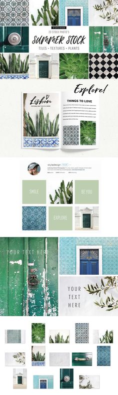 Summer stock photos and mockups including turquoise, mozaik tiles, white textures, green plants and cactus by Skyla Design on @creativemarket