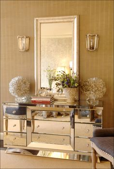 Gorgeous mirrored chest. Design by Celerie Kemble.
