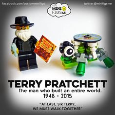 LEGO Terry Pratchett Tribute Custom Minifigure and Discworld . Terry Pratchett, Custom Lego, Lego Creations, Legos, The Man, Lego Minifigure, Charity, Brick, Auction