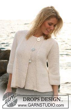 "DROPS A-shaped jacket with ¾ sleeves in ""Silke Alpaca"". Size S – XXXL. ~ DROPS Design"