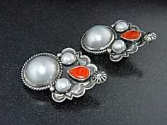 Native American Sterling Silver Pearls Spiny Oyster Cad  Native American A. Cadman Sterling Silver Spiny Oyster Pearls Clip Earrings 1 5/8 inches long.