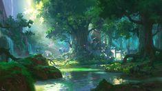 ideas for digital art fantasy landscape forests scenery Anime Art Fantasy, Digital Art Fantasy, Fantasy Kunst, Fantasy Artwork, Anime Artwork, Anime Landscape, Landscape Concept, Fantasy Art Landscapes, Fantasy Landscape