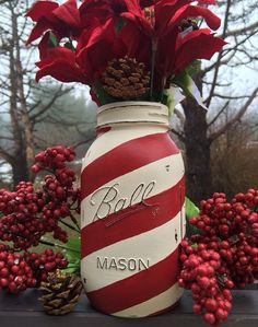 Hey, I found this really awesome Etsy listing at https://www.etsy.com/listing/201188006/hand-painted-candy-cane-ball-mason-jar