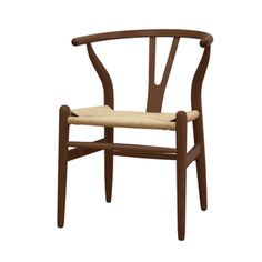 @Overstock.com - Wishbone Dark brown Wood Y Chair - Ideal for dining room use, and fantastic as an occasional piece, this lovely wishbone Y chair features a streamlined, contemporary look youll certainly appreciate. With a natural woven hemp seat and a dark brown wood frame, it offers lasting comfort.  http://www.overstock.com/Home-Garden/Wishbone-Dark-brown-Wood-Y-Chair/5686471/product.html?CID=214117 $182.25