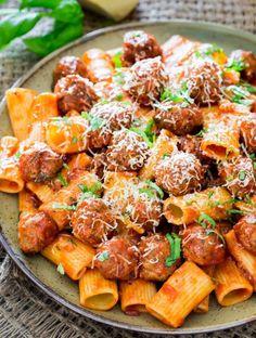 Rigatoni Con Polpette And Arrabiata Sauce   http://homemaderecipes.com/cooking-102/seasonalholiday-recipes/16-christmas-dinner-recipes/