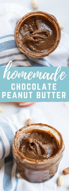 Homemade Chocolate Peanut Butter.... that's actually good for you and made with no added sugar. If you've ever wondered if you can make peanut butter at home, get excited because the answer is YES!! And chocolate is involved.