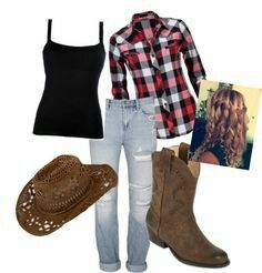"""""""Cowgirl Outfit"""" Totally love the plaid shirt! Hate the pants though cause I don't like ripped jeans. Way too tacky. Cute Cowgirl Outfits, Cowgirl Style, Western Outfits, Western Wear, Cute Outfits, Gypsy Cowgirl, Cowgirl Fashion, Cowgirl Clothing, Cowboy Western"""