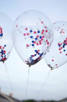 SIX (6) 4th of July 11 inches Latex Balloon - Clear with STAR Confetti on Etsy, $10.00