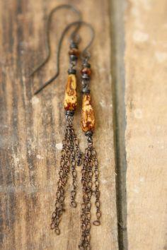Long Earthy Creamy Brown Copper Earrings by Sparrowtaledesign