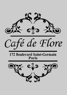 Vintage, French style Cafe de Flore Shabby Chic Stencils, Create a unique difference to any canvas, fabric, furniture or wall with our contemporary French vintage style stencils. Éphémères Vintage, Images Vintage, Vintage Labels, Vintage Decor, Vintage Patterns, Scrapbook, Collages D'images, Diy Image, Shabby Chic Stencils