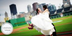 baseball park wedding photography