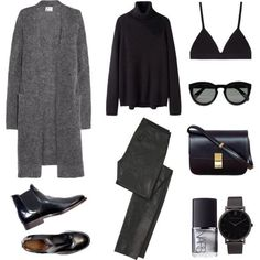 Add to the Capsule - Long black open cardigan - Jcrew Black tee shirt Black skinny jeans Chelsea boots Cross-body bag - coach
