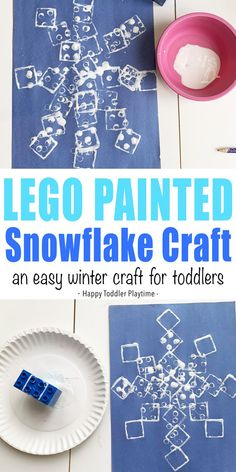 LEGO Painted Snowflake Craft - HAPPY TODDLER PLAYTIME LEGO painted snowflake craft is an easy way to get your toddler painting this winter. Grab a few Duplo and some washable paint for a fun morning activity.