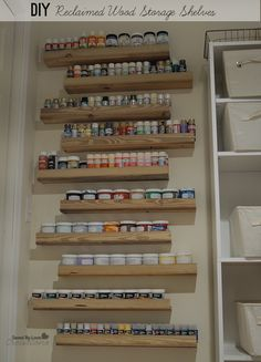 DIY Reclaimed Wood Craft Paint Storage Shelves craft with wood - Wood Crafts Acrylic Paint Storage, Craft Paint Storage, Craft Shelves, Wood Shelves, Painted Wood Crafts, Fall Wood Crafts, Diy Crafts, Diy Storage Cupboards, Spice Storage