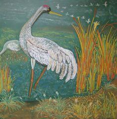 Waldorf ~ 4th grade ~ Human & Animal ~ Crane ~ chalkboard drawing