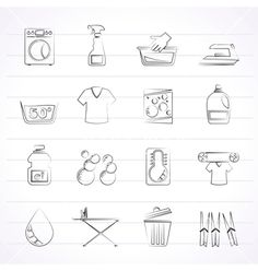 Washing machine and laundry icons vector by stoyanh on VectorStock®