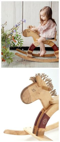 Schaukelpferd aus Holz als Spielzeug fürs Kinderzimmer / wooden rocking horse for the nursery made by Friendly Toys via DaWanda.com