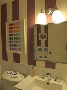 Striped in bathroom. Interior design by Lindsey Coral Harper Room, House, Interior, Lighted Bathroom Mirror, Bathroom Wallpaper, Beautiful Interiors, Framed Bathroom Mirror, Ronald Mcdonald House, Bathroom