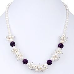 Beauty White Freshwater Cultured Pearl Necklace with Purple Clay Crystal Pave Ball Beads 17 Inch Cultured Pearl Necklace, Cultured Pearls, Pearl Jewelry, Wire Jewelry, Jewelry Bracelets, Macrame Bracelets, White Freshwater Pearl, Freshwater Pearl Necklaces, Pearl Necklace Designs