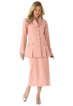 57cbd0899b9 Two-Piece Skirt Suit with Shawl-Collar Jacket