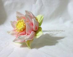 Pink lotus kanzashi hairpin by EruwaedhielElleth.deviantart.com on @DeviantArt