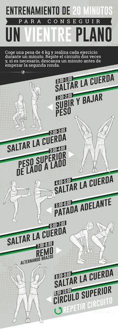 Nutrición Deportiva: Entrenamiento para un vientre plano. 20 minutos