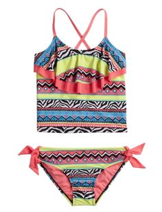 Justice-Girls Tribal Flounce Tank Topini Swimsuit  *This is an affiliate link. Thanks for shopping!