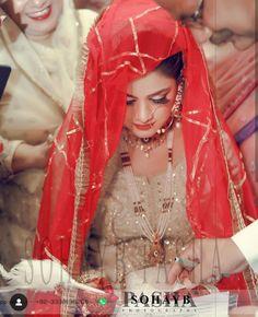 Image may contain: one or more people and text Pakistani Bridal Makeup, Pakistani Wedding Dresses, Wedding Hijab, Indian Bridal, Nikkah Dress, Shadi Dresses, Muslim Brides, Muslim Couples, Nikah Ceremony