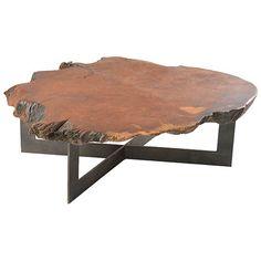 Rotsen-furniture-radica-redwood-round-coffee-table-metal-base-furniture-center-tables-metal-wood