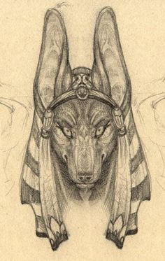 Anubis Portrait Sketch; I so so so so so so so want to draw this...