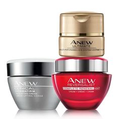 A $96 value, this trio includes: Anew Clinical Thermafirm Face Lifting Cream Anew Clinical Thermafirm Face Lifting Cream gives you your desired results fast. In as few as 3 days, your skin looks tighter, firmer, and more lifted. Clinical Thermafirm contains a special formula of hydrolyzed plant protein and natural extracts intended to visibly tighten, lift, and firm your skin. Add this face lifting cream to your anti-aging skin care regimen and see these results. Comes in a 1 fl. oz. jar.