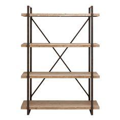 Studio 350 Industrial Look Metal and Wood Storage Shelf (see description), Brown
