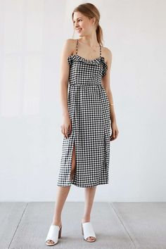 this dress doesn't look good on the model but i saw it one someone else and it looked good.  Cooperative Gingham Ruffle Midi Dress