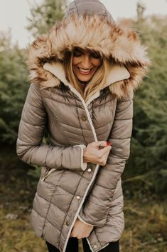 Puffer Coat with Fur