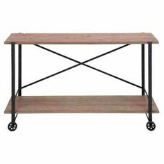 """Wood and metal console table.Product: Console table  Construction Material: Metal and wood  Color: Natural and black    Features:   Industrial style  Bottom display shelf     Dimensions: 33"""" H x 55"""" W x 16"""" D"""