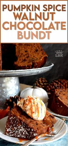 Perfectly moist and decadent on its own, but can be dressed to impress with scoop of ice cream and some caramel drizzle. Pumpkin Spice Walnut Chocolate Bundt cake is a big cake and it's perfect for sharing! #pumpkinspice #pumpkin #spice #walnut #chocolate #bundt #cake #bundtbakers