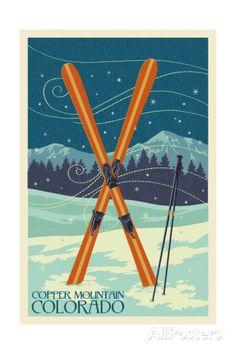 Copper Mountain, Colorado - Crossed Skis Art Print