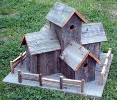 Rustic Barnwood Decorative Bird House Condo With Fence
