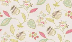 Samara (110043) - Harlequin Wallpapers - A pretty and dainty leaf floral design in a hand painted water colour effect. Showing in lime green, pink and brown on white. Other colour ways available. Please request a sample for true colour match. Paste-the-wall product.