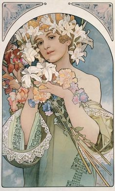 MUCHA (Alfons) Art Nouveau - Jugendstil: Tekening, Poster, Affiche, Reclame, Illustratie *Drawing, Advertising. ~Flower (1897)~