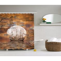 Sailboat Art Full Moon Fairy Scene Nautical Shower Curtain Extra Long 84 Inch - Walmart.com