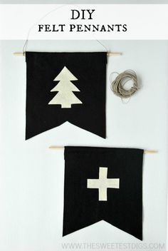 DIY felt pennants >> super cute and easy to make!! great DIY artwork idea - via the sweetest digs