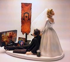 World of Warcraft Horde Funny Wedding Cake Topper Bride and Groom #Unbranded