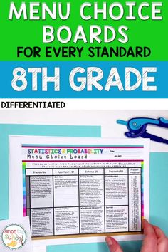This year long 8th grade math choice board bundle covers ALL 8th grade common core math standards. It addresses important middle school math concepts like functions, the number system, geometry, expressions and equations, and review boards for the beginning and end of the year. #middleschoolmath #8thgrademath #mathchoiceboard #commoncoremath